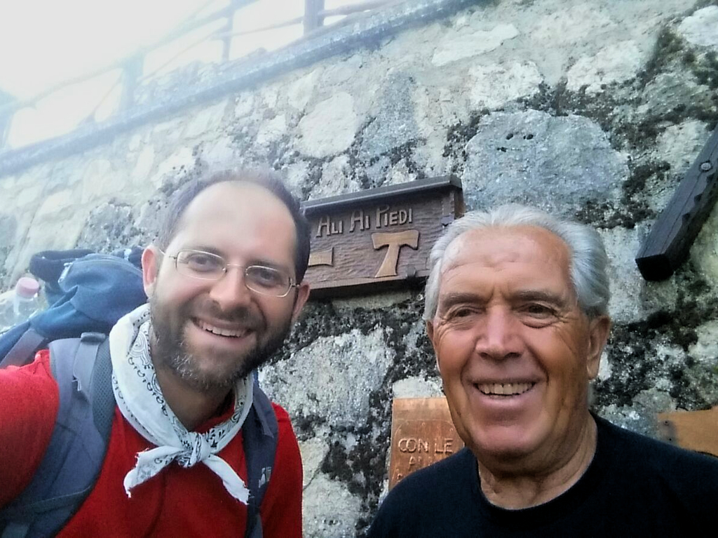 Aldo e scultore Cammino Francesco 2016