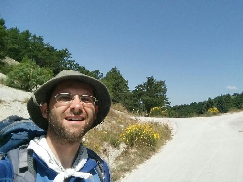 Aldo e strada Cammino Francesco 2016